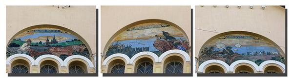Крестьянский Поземельный банк - майоликовые панно на фасаде